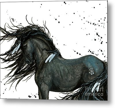 Majestic Friesian Horse 112 Metal Print by AmyLyn Bihrle