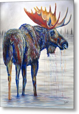 Majestic Moose Metal Print by Teshia Art