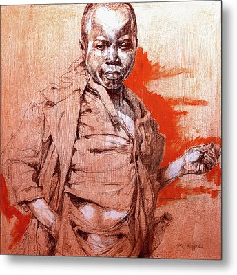 Malawi Child Sketch Metal Print by Derrick Higgins