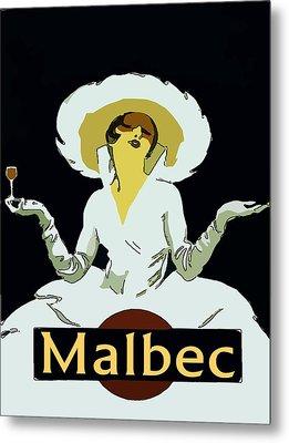 Malbec Vintage Wine Lady Metal Print by Fig Street Studio