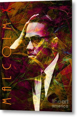 Malcolm X 20140105 With Text Metal Print by Wingsdomain Art and Photography