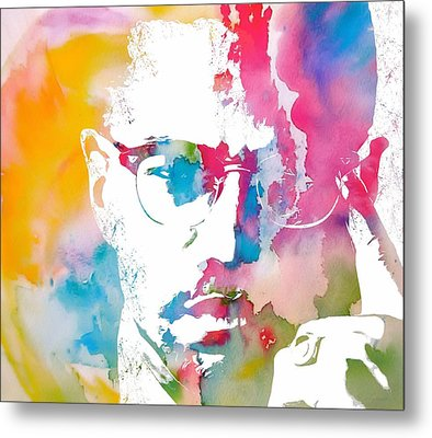 Malcolm X Watercolor Metal Print by Dan Sproul