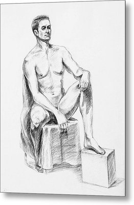 Male Model Seated Charcoal Study Metal Print by Irina Sztukowski