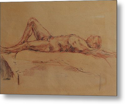 Male Nude 3 Metal Print by Becky Kim