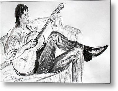 Man And Guitar Metal Print by Asha Carolyn Young