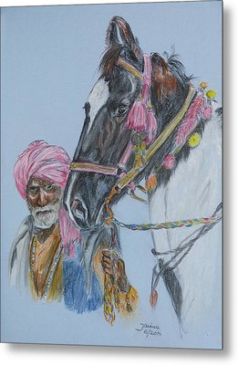 Man And His Horse Metal Print by Janina  Suuronen