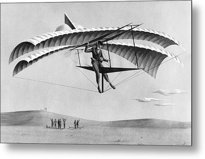 Man Gliding In 1883 Metal Print by Underwood Archives