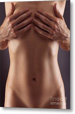 Man Hands Covering Nude Woman Breasts Metal Print by Oleksiy Maksymenko