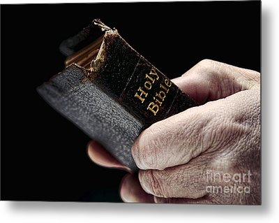 Man Hands Holding Old Bible Metal Print by Olivier Le Queinec