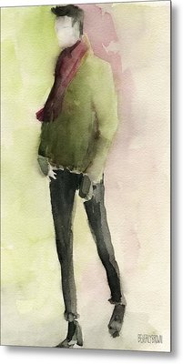Man In A Green Jacket Fashion Illustration Art Print Metal Print by Beverly Brown