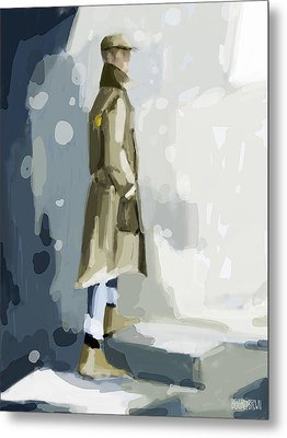 Man In A Trench Coat Fashion Illustration Art Print Metal Print by Beverly Brown Prints