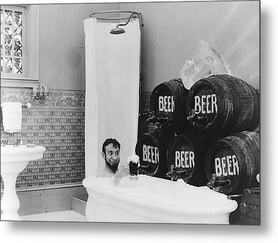 Man Loves Cold Beer  1916 Metal Print by Daniel Hagerman