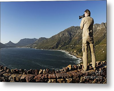 Man Photographing Hout Bay Metal Print by Sami Sarkis