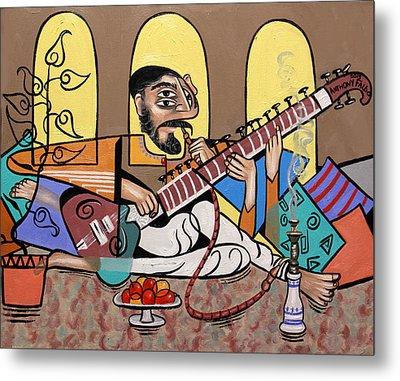 Man Playing A Sitar Metal Print by Anthony Falbo