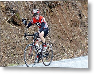 Man Riding Bike In A Race Metal Print by Susan Leggett