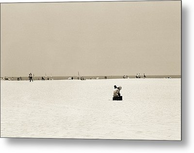 Man Sitting On A Beach Playing His Horn Metal Print by Stephen Spiller