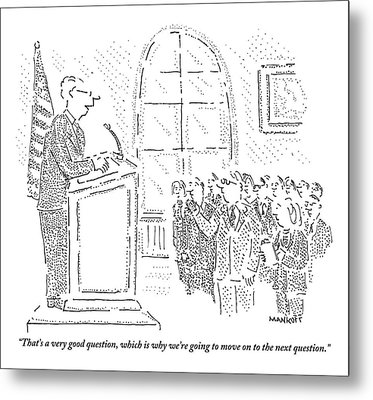 Man Stands At A Podium - A Flag Is To His Left Metal Print by Robert Mankoff