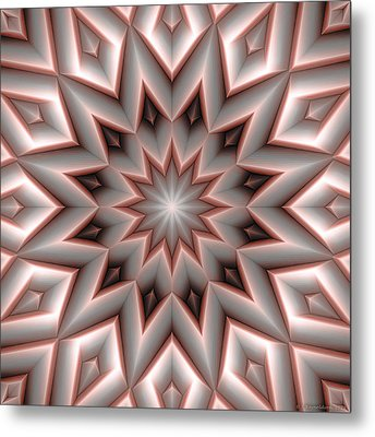 Mandala 107 Red Metal Print by Terry Reynoldson