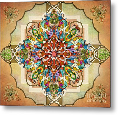 Mandala Birds Sp Metal Print by Bedros Awak
