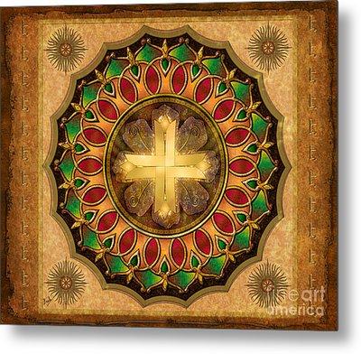 Mandala Illuminated Cross Sp Metal Print by Bedros Awak