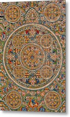 Mandala Of Heruka In Yab Yum And Buddhas Metal Print by Lanjee Chee