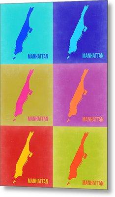 Manhattan Pop Art Map 3 Metal Print by Naxart Studio