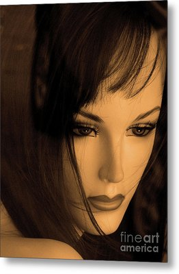 Mannequin Face Metal Print by Angela Wright