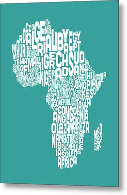 Map Of Africa Map Text Art Metal Print by Michael Tompsett