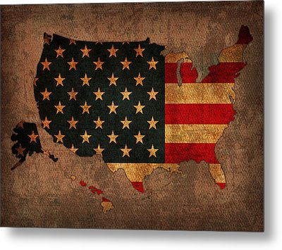 Map Of America United States Usa With Flag Art On Distressed Worn Canvas Metal Print by Design Turnpike