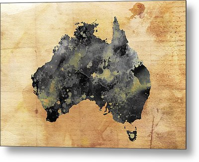 Map Of Australia Grunge Metal Print by Daniel Hagerman