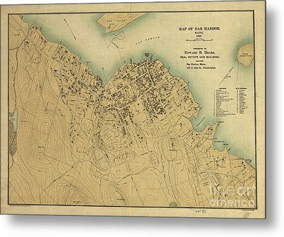 Map Of Bar Harbor Maine 1896 Metal Print by Edward Fielding
