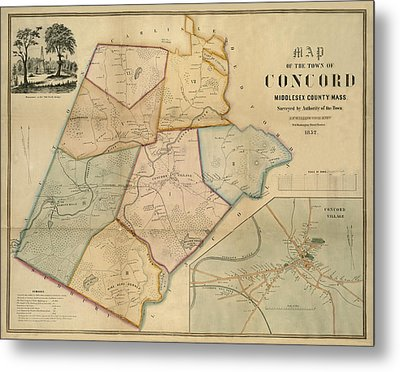 Map Of Concord 1852 Metal Print by Andrew Fare