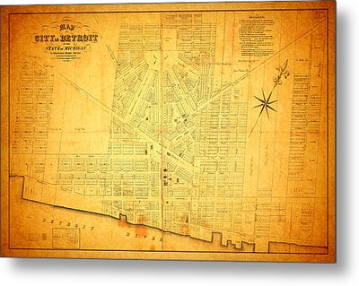 Map Of Detroit Michigan C 1835 Metal Print by Design Turnpike