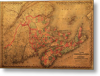 Map Of Eastern Canada Provinces Vintage Atlas On Worn Canvas Metal Print by Design Turnpike