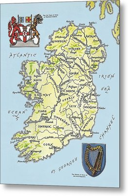 Map Of Ireland Metal Print by English School