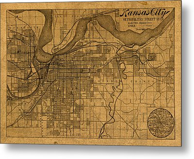 Map Of Kansas City Missouri Vintage Old Street Cartography On Worn Distressed Canvas Metal Print by Design Turnpike