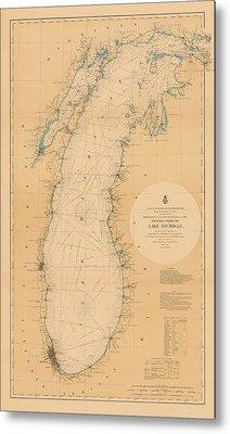 Map Of Lake Michigan 1898 Metal Print by Andrew Fare