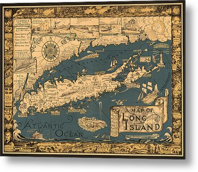 Map Of Long Island Metal Print by Andrew Fare