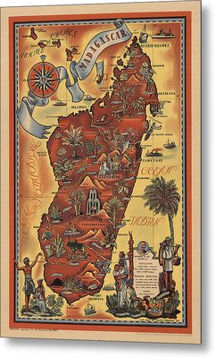 Map Of Madagascar 1952 Metal Print by Andrew Fare