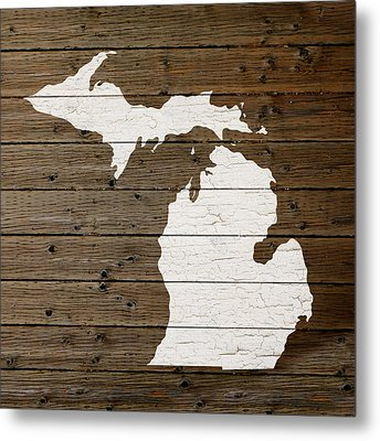 Map Of Michigan State Outline White Distressed Paint On Reclaimed Wood Planks Metal Print by Design Turnpike