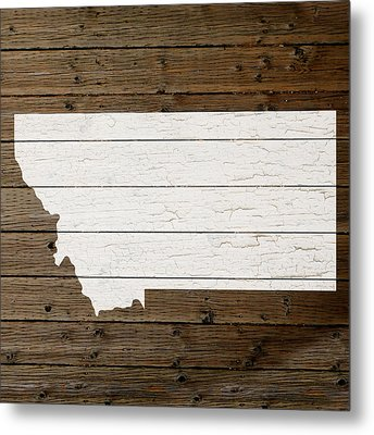 Map Of Montana State Outline White Distressed Paint On Reclaimed Wood Planks Metal Print by Design Turnpike