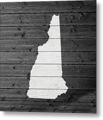 Map Of New Hampshire State Outline White Distressed Paint On Reclaimed Wood Planks Metal Print by Design Turnpike