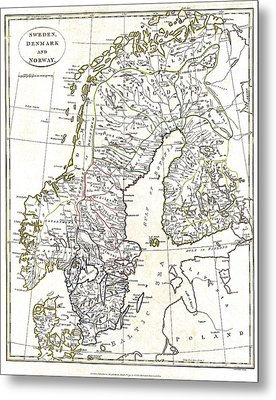 Map Of Scandinavia - 1799 Metal Print by Pablo Romero