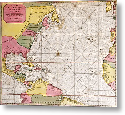Map Of The Atlantic Ocean Showing The East Coast Of North America The Caribbean And Central America Metal Print by French School