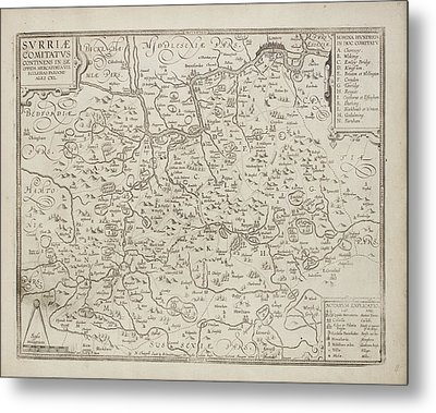 Map Of The County Of Surrey Metal Print by British Library