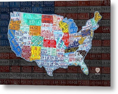 Map Of The United States In Vintage License Plates On American Flag Metal Print by Design Turnpike