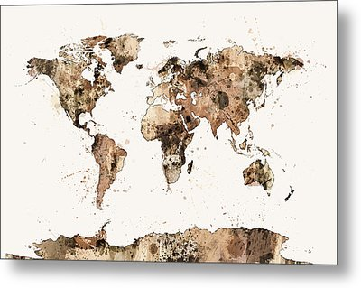 Map Of The World Map Sepia Watercolor Metal Print by Michael Tompsett