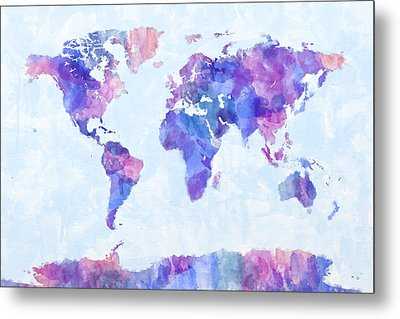 Map Of The World Map Watercolor Painting Metal Print by Michael Tompsett