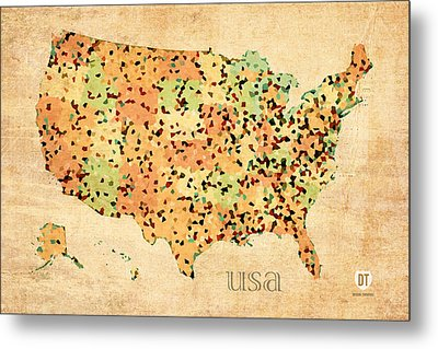Map Of United States Of America With Crystallized Counties On Worn Parchment Metal Print by Design Turnpike