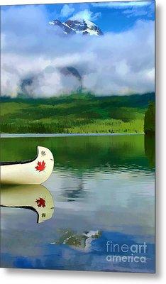Maple Leaf Canoe On Pyramid Lake Metal Print by Teresa Zieba